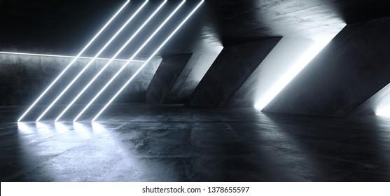 Sci Fi Fluorescent Tilted Tubes Neon Glowing Blue White Lights In Huge Dark Cement Concrete  Grunge Underground  Garage Reflections Alien Spaceship Future Arch 3D Rendering Illustration