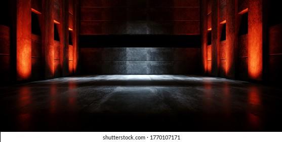 Sci Fi Futuristic Alien Concrete Dark Grunge Stage Podium Hall Glowing Red Orange Light Cyber Virtual Underground Club Garage Product Showcase Background 3D Rendering Illustration