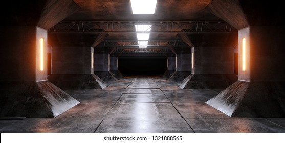 Sci Fi Futuristic Alien Ship Grunge Concrete Reflective Columns Corridor Spaceship Modern Orange Yellow White Neon Glowing Laser Led Tiled Floor 3D Rendering Illustration