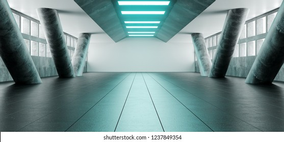 Sci Fi Futuristic Bright Alienship Modern Reflective Corridor Empty Tunnel With Concrete Tiled Floor And Concrete Big Columns And Blue Lights Technology Background Concept 3D Rendering Illustration