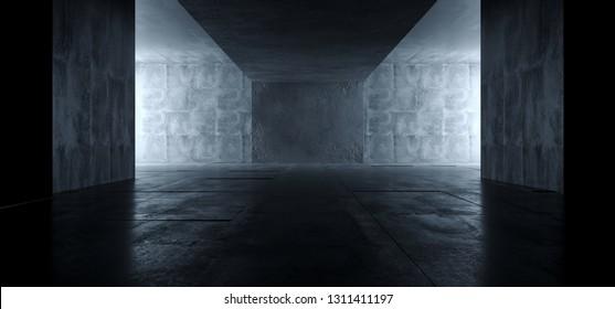 Sci Fi Futuristic Bright Dark Empty Studio Podium Showroom Reflective Grunge Concrete Glowing Elegant Room Tunnel Empty Space Background 3D Rendering Illustration