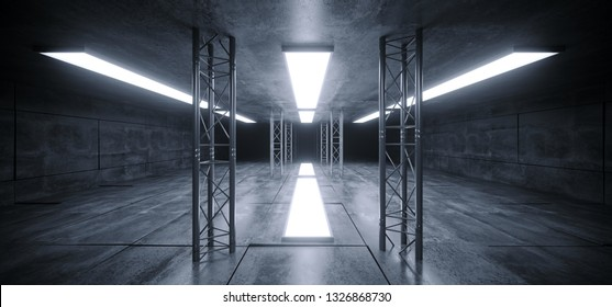 Sci Fi Futuristic Concrete Grunge Reflective Spaceship Led Laser Panel Stage Metal Structure Lights Long Hall Room Corridor Tunnel Dark Empty 3D Rendering  Illustration