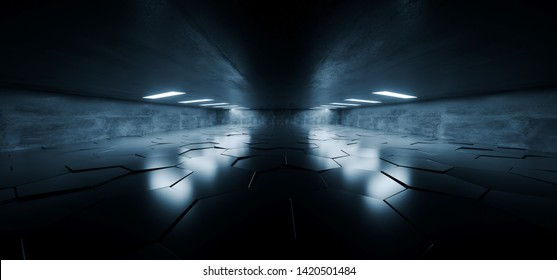 Sci Fi Futuristic Concrete Grunge Tunnel Hallway Reflective Garage Underground Garage Glowing Blue White Windows Led Lights Tiled Floor 3D Rendering Illustration