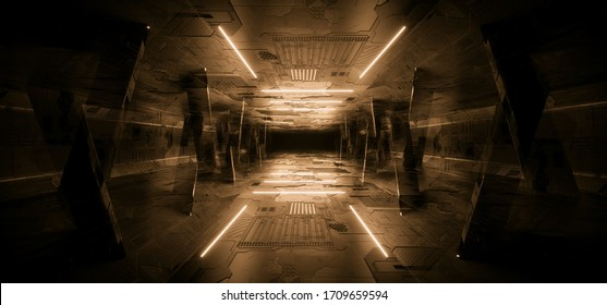Sci Fi Futuristic Concrete Schematic Textured Orange Glowing laser Neon Columns Tunnel Corridor Dark Night Warehouse Showroom Cyber Synth 3D Rendering illustration
