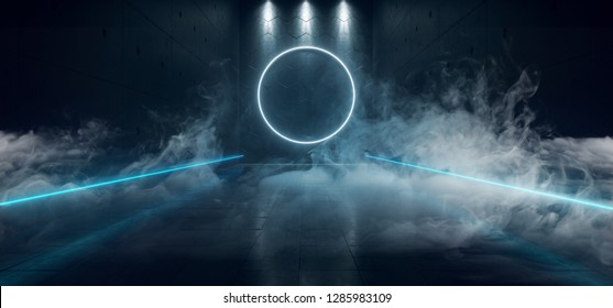 Sci Fi Futuristic Dark Reflective Concrete Neon Glowing Blue Circle Shaped Light With Stripe Light Leds Bright With Smoke And Fog Empty Space 3D Rendering Illustration