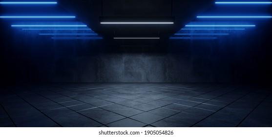 Sci Fi Futuristic Neon Blue Lasers Glowing Modern Simple Underground Realistic Light Glowing On Cement Concrete Dark Room Hangar Parking Car Showroom Tiled Floor Background 3D Rendering Illustration