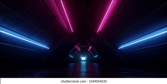 Sci Fi Futuristic Neon Glowing Purple Blue Night Dark Moon Light Triangle Roof Tunnel Corridor Attic Led Light Vibrant Wood Planks Texture Realistic 3D Rendering Illustration