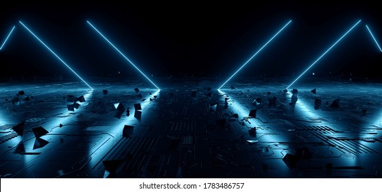 Sci Fi Futuristic Neon Laser Blue Vibrant Glowing Lights Dark Night On Schematic Textured Metallic Refelctive Hi Tech Floor WIth Floating Pyramid Abstract Shapes Background 3D Rendering Illustration
