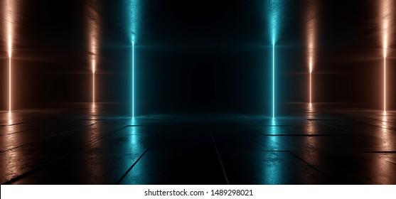 Sci Fi Futuristic Neon Lights Blue Orange  Vertical Sci Fi Glowing Concrete Grunge Dark Empty Corridor Hallway Tunnel Underground Room Stage Virtual Cyber Laser Beam 3D Rendering Illustration