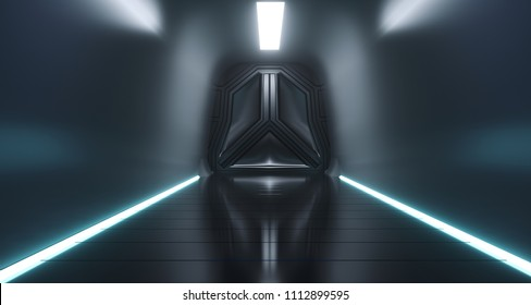 Sci Fi Futuristic Ship Tunnel With Door And Surface Reflections.3D Rendering Illustration