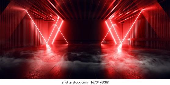 Sci Fi Futuristic Smoke Fog Neon Laser Garage Room Red Electric Cyber Undergound Warehouse Concrete Reflective Studio Podium Club 3D Rendering illustration