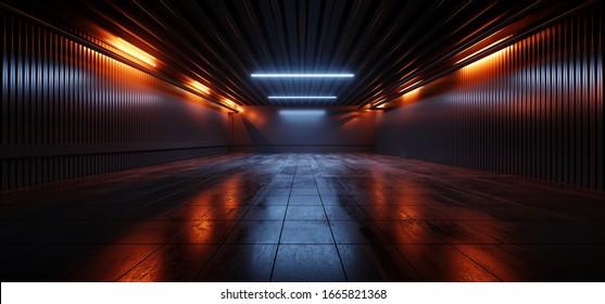 Sci Fi Futuristic Studio Stage Dark Room Underground Warehouse Garage Neon Led Laser Glowing Orange On Concrete Tiled Floor Reflective Cyber 3D Rendering Illustration