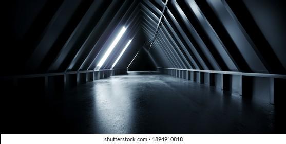 Sci Fi Futuristic Triangle Empty Concrete Cement Modern Blue White Light Led Hallway Tunnel Corridor Cyber Alien Spaceship Background Dark 3D Rendering Illustration