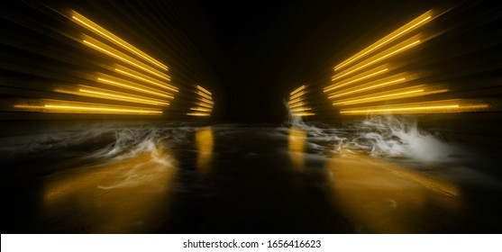 Sci Fi Futuristic Wing Shaped Alien Modern Smoke Fog Neon Led Lights Orange Yellow  Glowing Cyberpunk Concrete Dark Hallway Garage Showroom Garage Empty Background 3D Rendering illustration