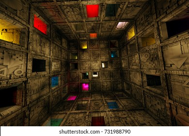 Sci Fi Grungy Escape Room Riddle Labyrinth Cube Interior 3D Illustration