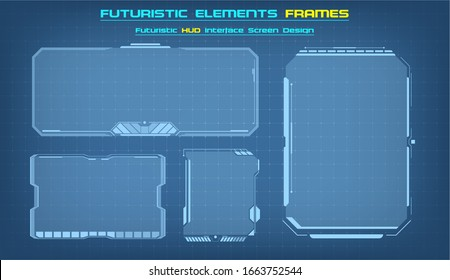 Sci Fi HUD modern futuristic user interface square Frames blocks Set. Technology background with HUD dashboard interface.   illustration.