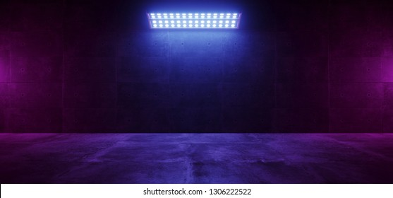 Sci Fi Modern Elegant Futuristic Cyber Neon Led Studio Big Panel Lights Blue Purple  Glowing Lights On Dark Empty Grunge Concrete Room Background Stage 3D Rendering Illustration