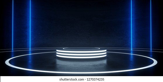 Sci Fi Modern Hi Tech Empty Podium Lighter Round Circle Stage In Dark Reflective Room With Neon Glowing Blue Vertical Lines Product Showcase 3D Rendering Illustration