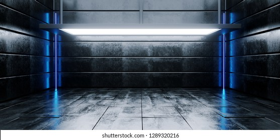 Sci Fi Modern Vibrant Empty High Contrast Grunge Concrete Realistic Room With Big Studio Lights Showroom Stage And Neon Glowing Led Laser Blue Light Vertical Lines 3D Rendering Illustration