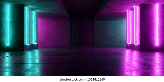 Sci Fi Neon Cyber Futuristic Modern Retro Alien Dance Club Glowing Purple Pink Blue Lights In Dark Empty Grunge Concrete Reflective Room Corridor Background 3D Rendering Illustration