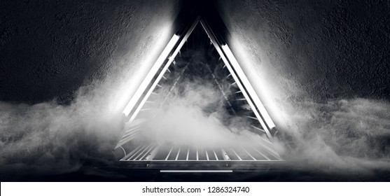 Sci Fi Neon Glowing Dance Lights Triangle Shaped Metal Construction Structure In Dark Smoke Fog Grunge Concrete Tunnel Corridor Empty Space   3D Rendering Illustration