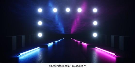 Sci Fi Neon Hallway Fluorescent Studio Led Lights Dark Garage Grunge Concrete Reflective Circle Dot Lamps Glowing Cinematic Blue Purple Glare Background 3D Rendering illustration