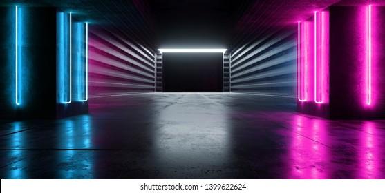 Sci Fi Neon Purple Blue Futuristic VIbrant Fluorescent Alien Spaceship Virtual Warehouse Hallway  Underground Concrete Grunge Entrance Laser Glow Studio Empty Dark Space 3D Rendering  Illustration