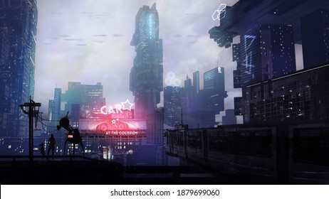 Sci fi painting of a futuristic city with a destruction derby event playing in the background - fantasy 3d illustration