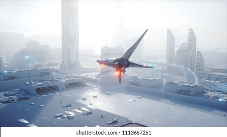 Sci fi ship over futuristic fog city. Aerial view. Concept of future. 3d rendering.