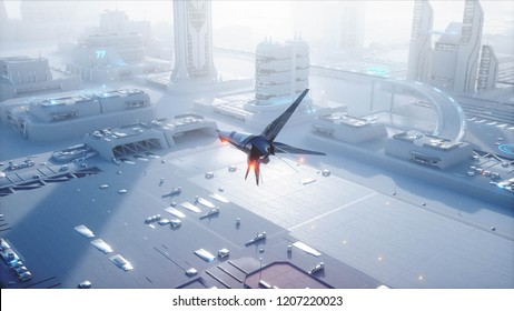Sci fi ship over futuristic fog city. Aerial view. Concept of future. 3d rendering.