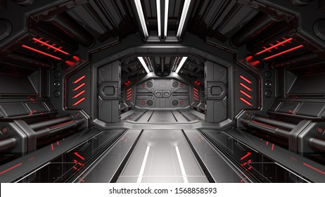 Sci fi space station corridor or futuristic interior. 3d render