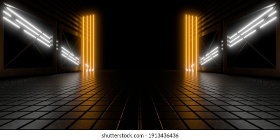 Sci Fy neon lamps in a dark tunnel. Reflections on the floor and walls. Empty background in the center. 3d rendering image.