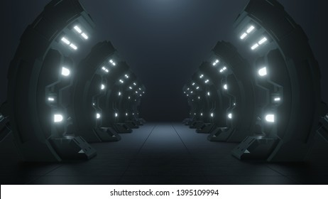 Science background fiction interior rendering sci-fi  Spaceship Triangle Dark Empty Corridor the door to the future.3D Rendering