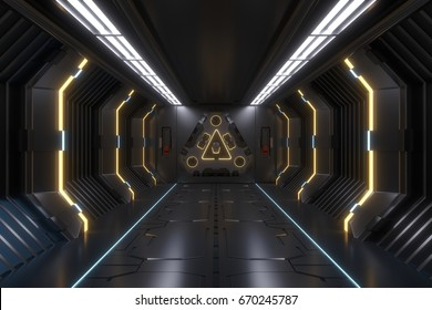 Science background fiction interior rendering sci-fi spaceship corridors Yellow light,3D rendering