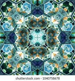 Science background. Kaleidoscope effect