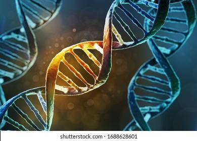 Science Biotechnology DNA helix molecule background, 3d illustration.