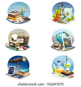 Science cartoon set of mathematics physics chemistry astronomy biology and geophysics equipment isolated  illustration