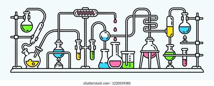 Science chemistry experiment banner. Outline illustration of science chemistry experiment banner for web design