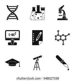 Science education icons set. Simple illustration of 9 science education  icons for web