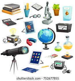 Science elements cartoon set of colorful school and scientific objects and equipment isolated  illustration