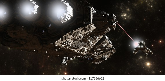 Science fiction battleship chasing a smaller vessel through intersteller space, 3d digitally rendered illustration