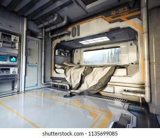 Science fiction bedroom interior .Futuristic 3d rendering.