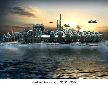 Science fiction city with metallic ring structures on water and hoovering aircrafts in sunset for futuristic or fantasy backgrounds