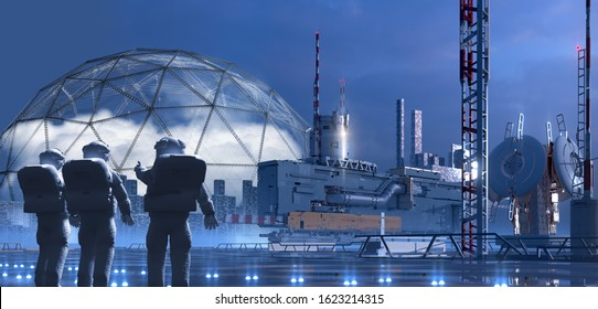 Science fiction city on an alien planet with technological structures architecture and astronauts pointing to a terraforming dome, for video games or futuristic 3D illustration backgrounds.