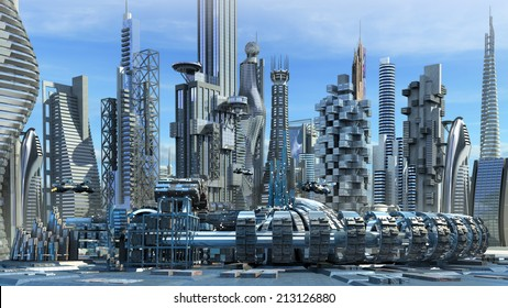 Science fiction city skyline with metallic skyscrapers and hoovering aircrafts for futuristic or fantasy architectural backgrounds