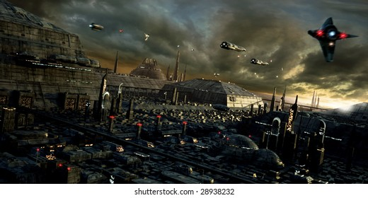 Science fiction city with spaceships (3D render)