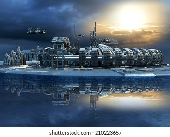 Science fiction cityscape with metallic structures, marina and hoovering aircrafts for futuristic or fantasy animated backgrounds