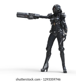 Science fiction cyborg female standing and shooting with gun. Cyborg girl with big gun in one hand. Young Girl in a futuristic black armor suit with a helmet. Shooter. 3D rendering on white background