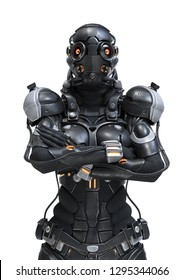 Science fiction cyborg female standing with arms crossed on her chest. Serious Young Girl in a futuristic black armor suit with a helmet. Futuristic soldier concept. 3D rendering on white background.