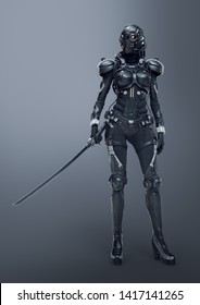 Science fiction cyborg female standing and holding futuristic japanese samurai sword in one hand. Sci-fi samurai girl in a futuristic black armor suit with a helmet. 3D rendering on gray background.